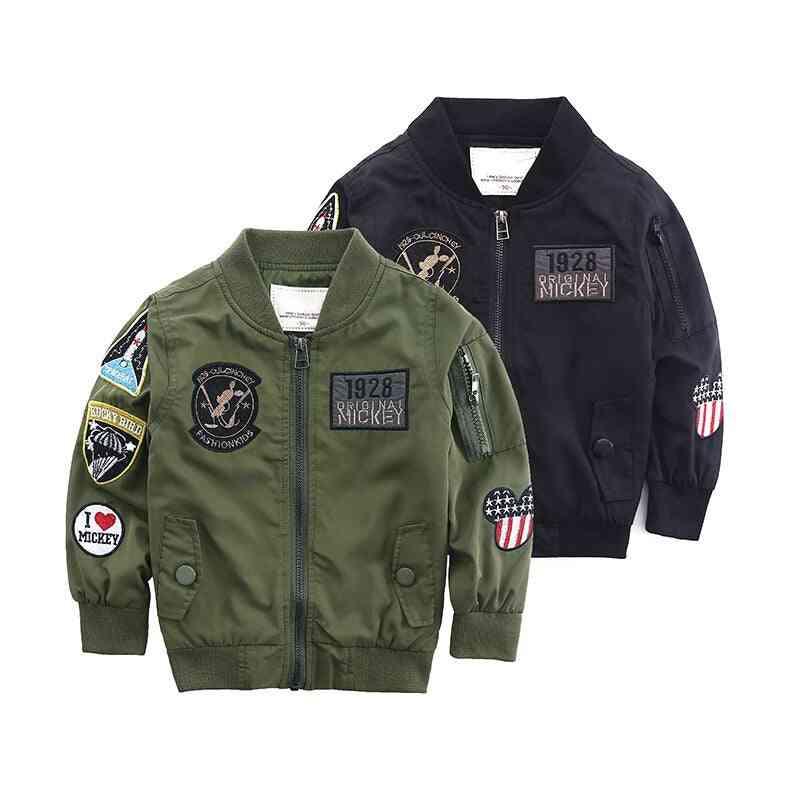Boy Coat Army Green Bomber Windbreaker Autumn Jacket