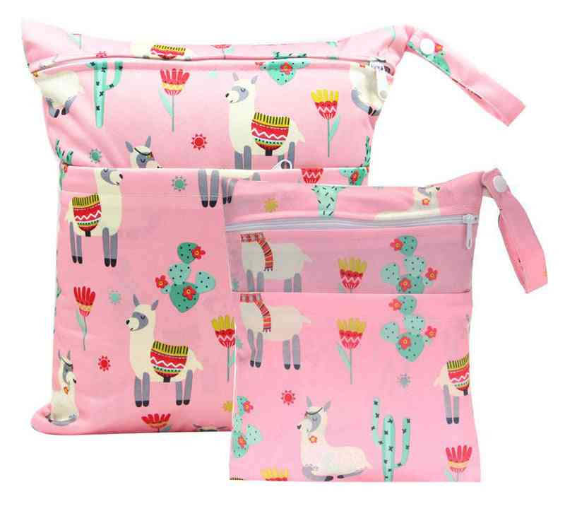 Reusable Maternity Diaper Bag, Double Pockets For Diapers, Nappies, Waterproof Pul Stroller, Wet Pouch