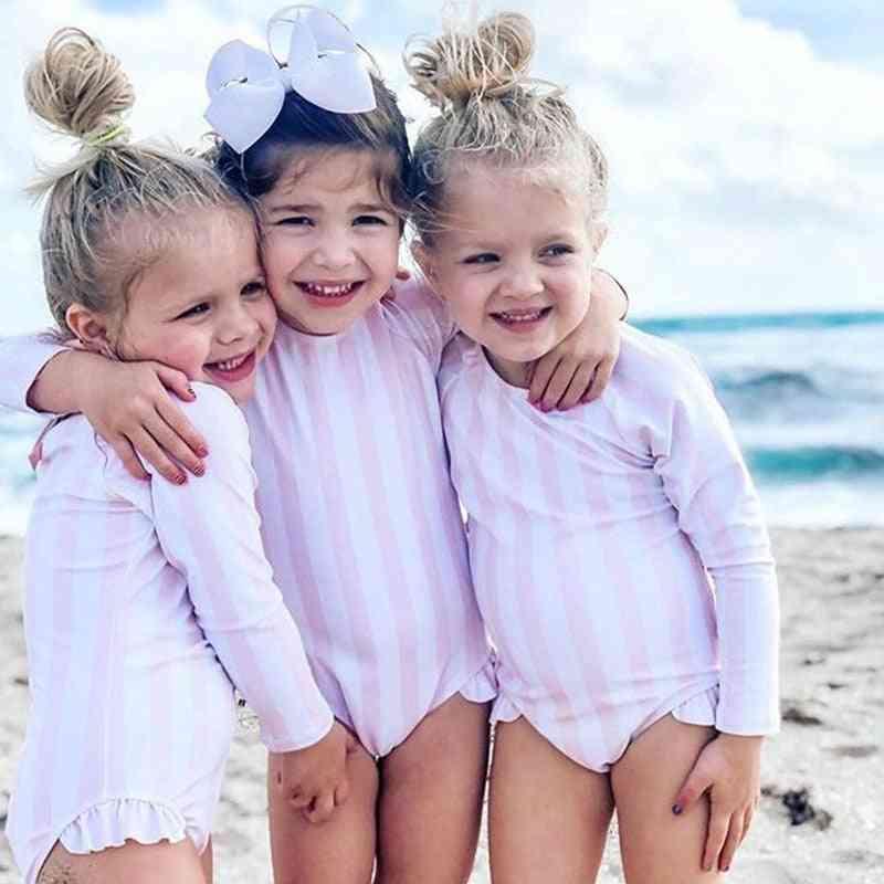 Baby Swimwear, Summer Swimsuit, One Piece, Beachwear, Striped Bathing Suits