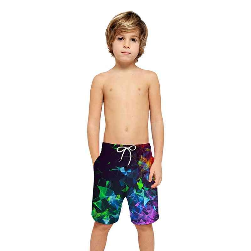 3d Print Quick Drying Shorts Elastic Waist Kids Sports Swim Shorts Pants