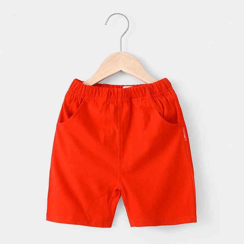 Solid Colors Cotton Beach Short Sports Pants Elastic Waist Pants