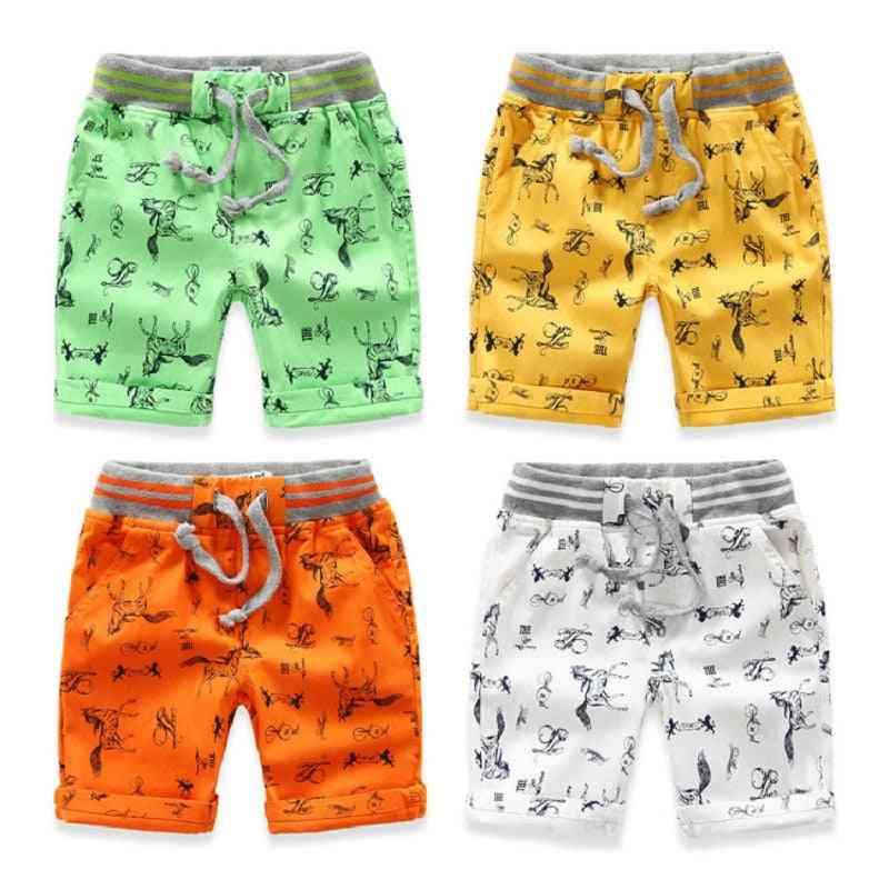 Cartoon Printed Horse Summer Breathable Linen 100% Cotton Shorts