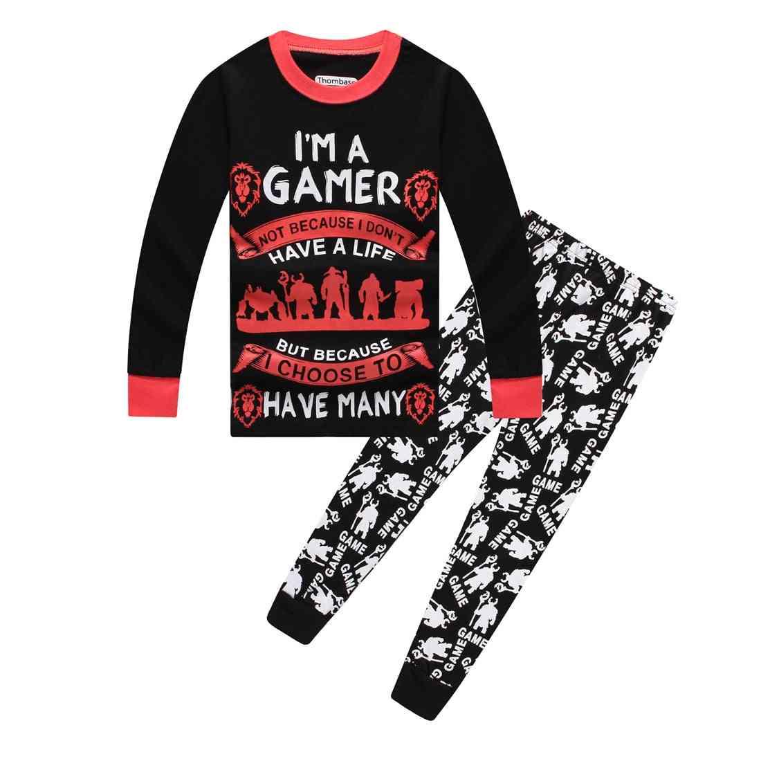 Boys Eat Game Sleep Controller Long Pajamas