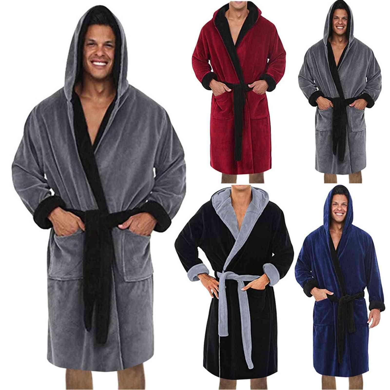 Winter Men Warm Robes Thick Lengthened Plush Shawl Bathrobe Kimono