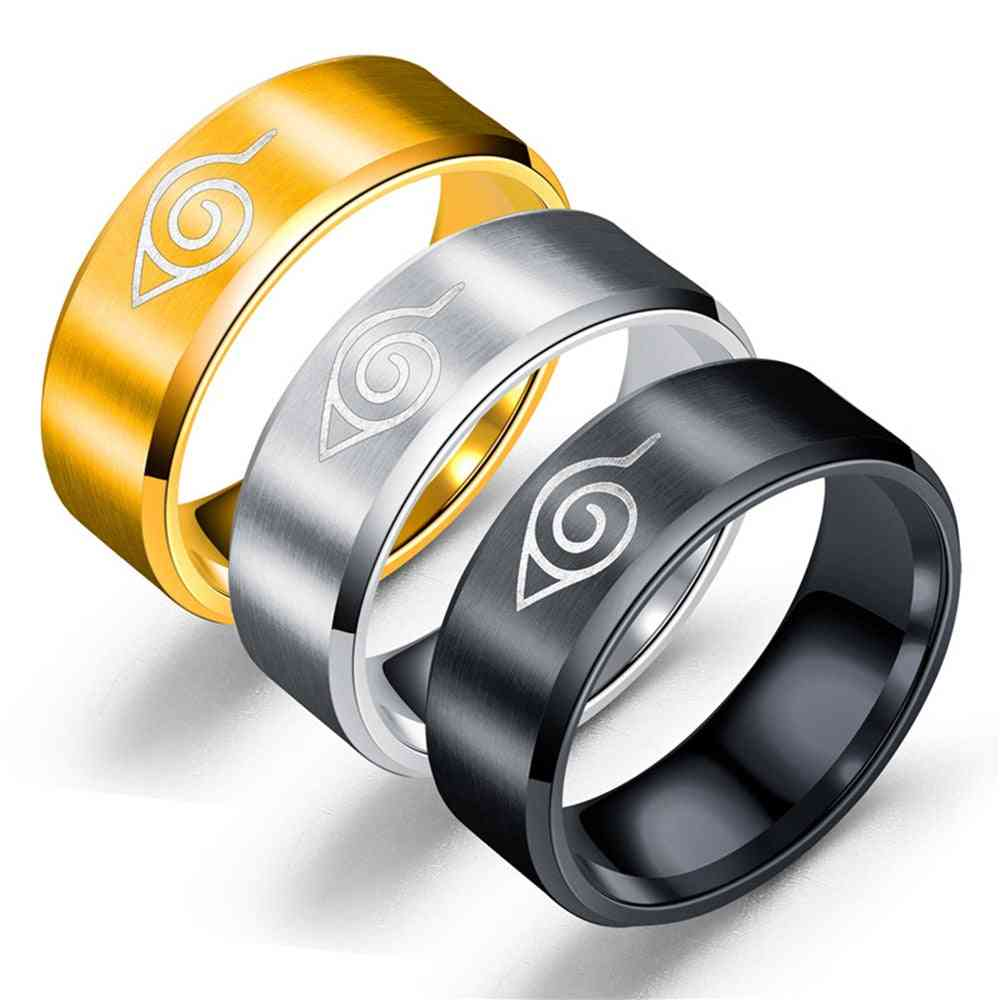 Naruto Rings 8mm Wide Leaf Village Symbol Stainless Steel Cosplay Ninja Sign Women Jewelry