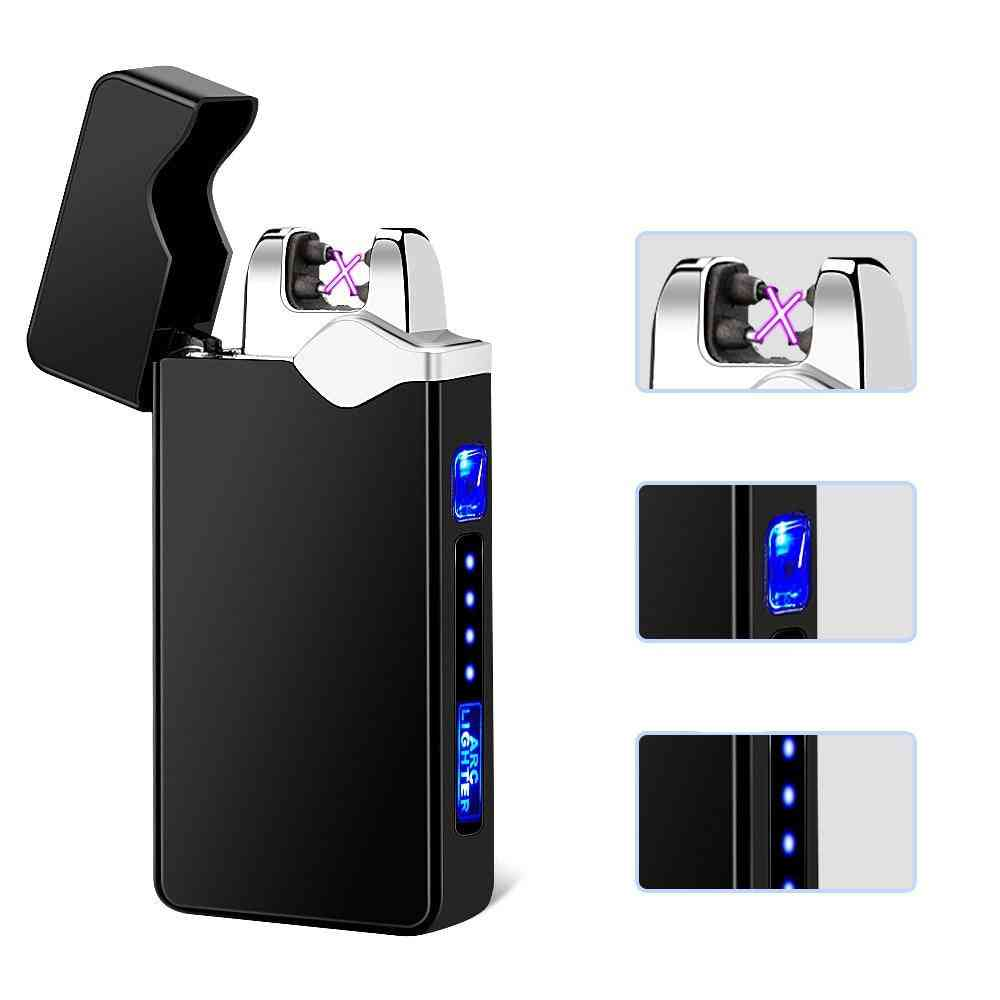 Electric Dual Arc Lighter Usb Rechargeable Windproof Flameless Cigarette Candle With Led Power Display