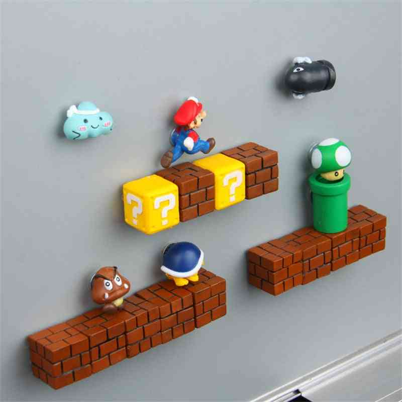 Super Mario Resin Fridge Magnets, Home Decoration, Ornaments, Figurines Wall Magnet Bullets Bricks