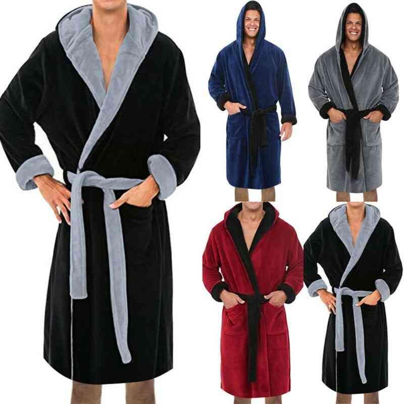 Men Long Sleeve Hooded, Bathrobe Soft Lounge Wear Housecoat Winter Warm