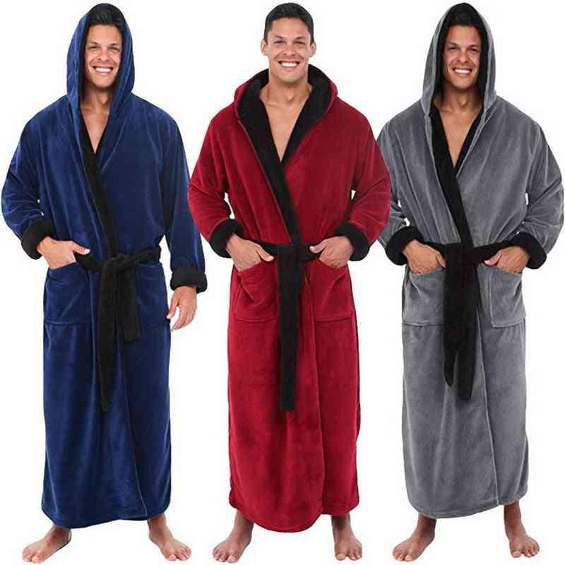 Men Bathrobe Flannel Hooded Thick Casual Winter Autumn Long Kimono Nightgown