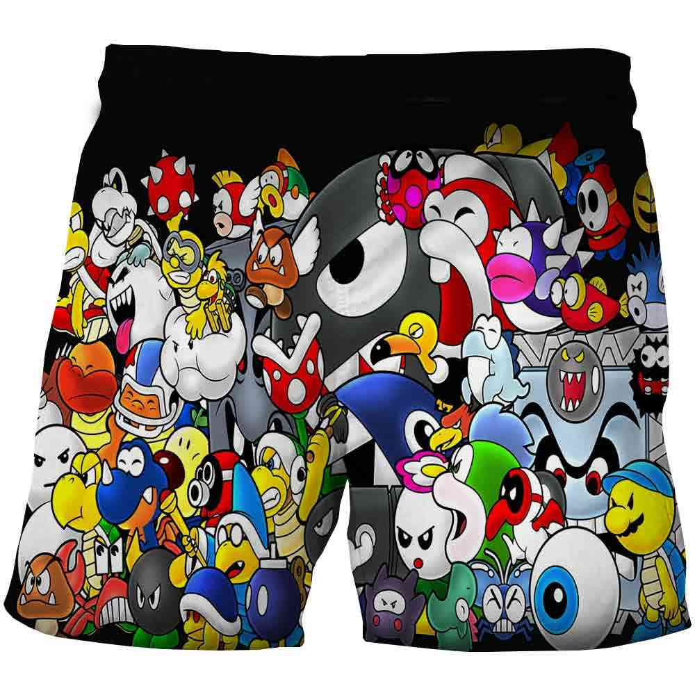 Funny 3d Mario Bro Cartoon Boys Summer Shorts (set-1)