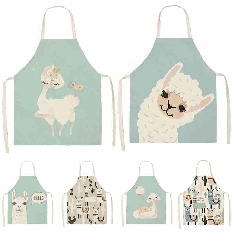 Cotton Linen Sleeveless Aprons Pinafore Cooking Baking Waist Bib