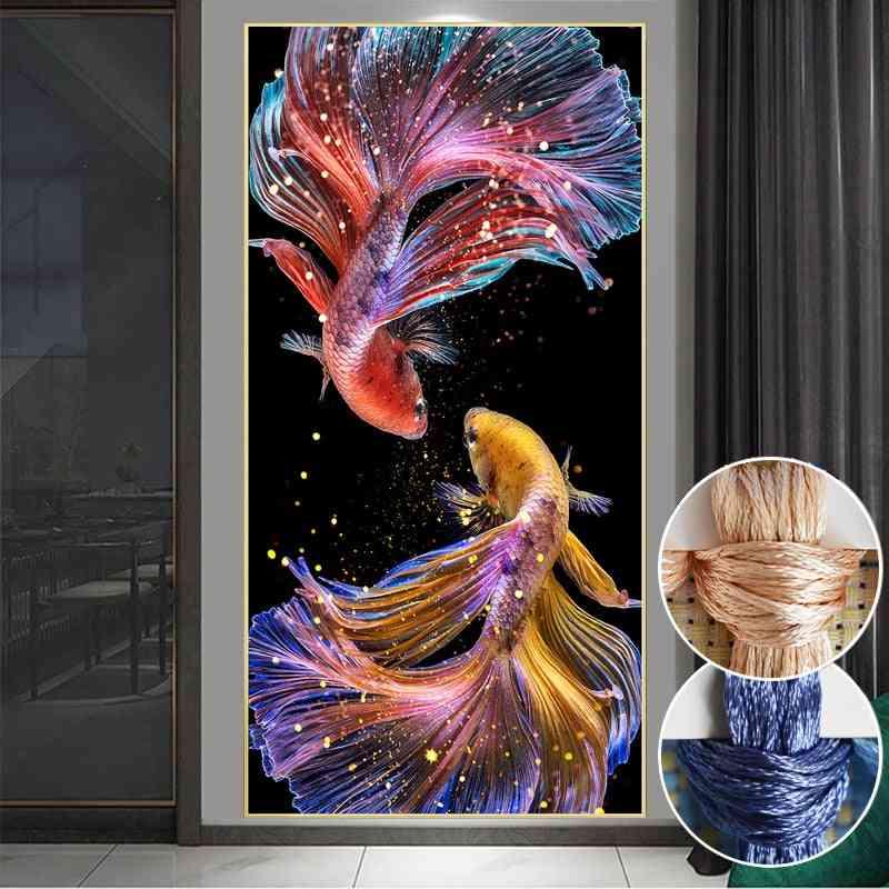 Diy Fish Printed Princess Goldfish Cross Stitch,sets