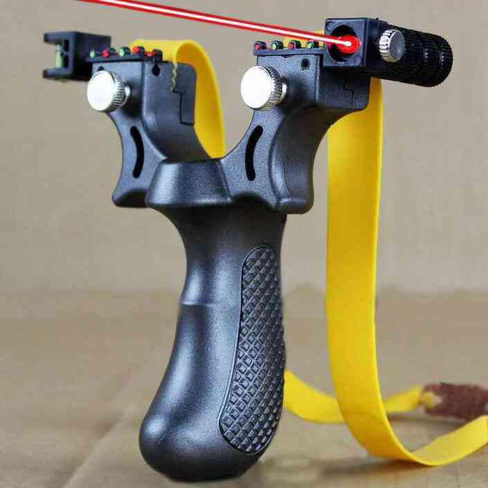 Hunting Slingshot, Resin Catapult With Laser Light, Sight Level, Outdoor Shooting With Rubber Band