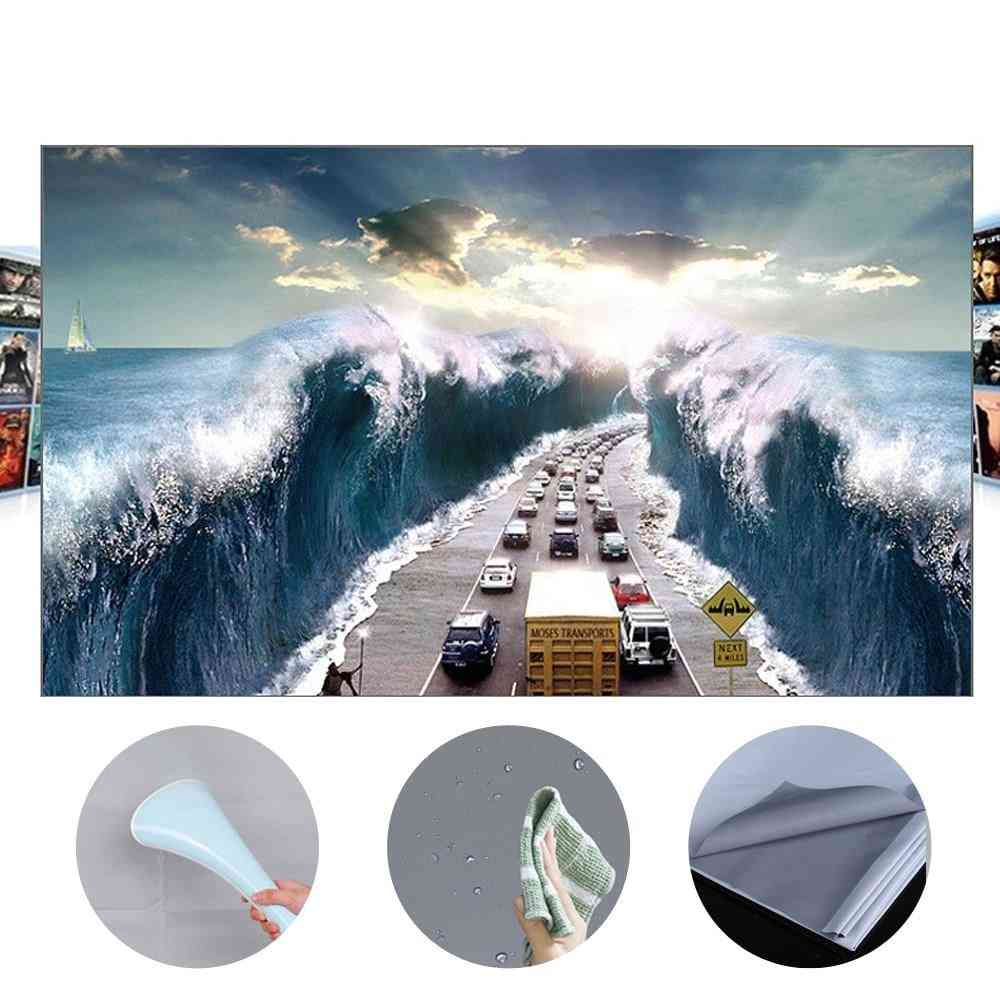 Hd Projector Screen 16:9 Frameless Video Projection For Home Office Grey Screen