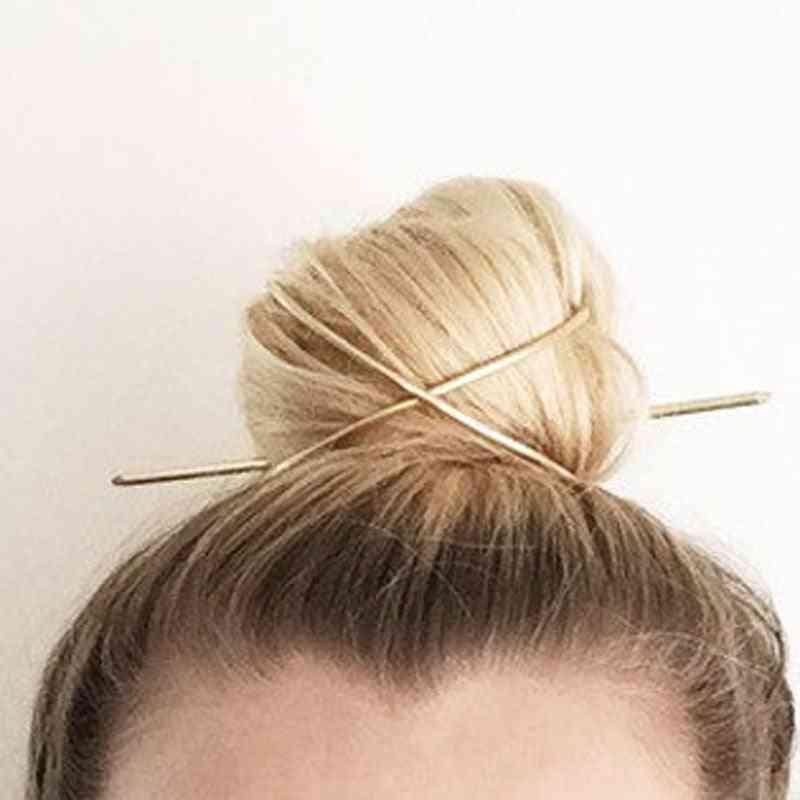 Hair Accessories X-shape Hair Stick Bun Holder