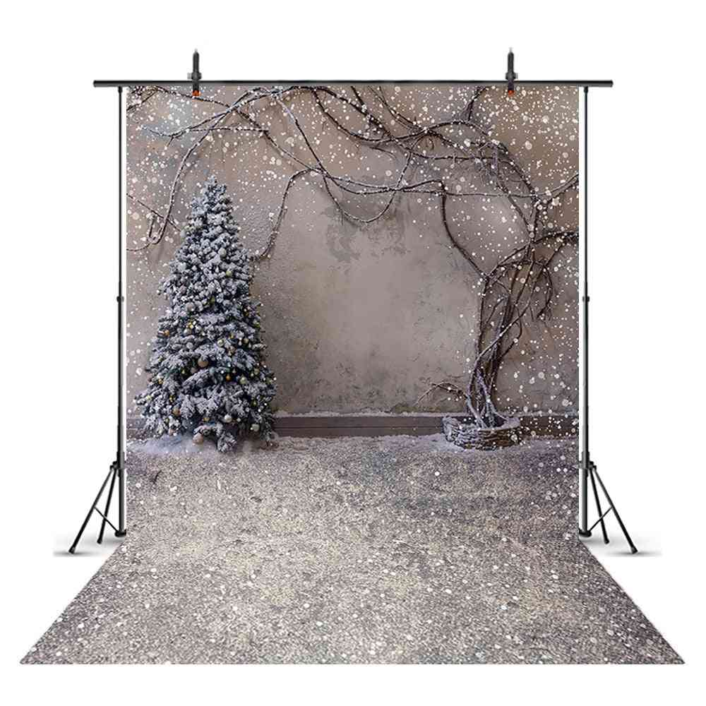Portrait Backdrop For Snowflake, Background For Photo Christmas Tree
