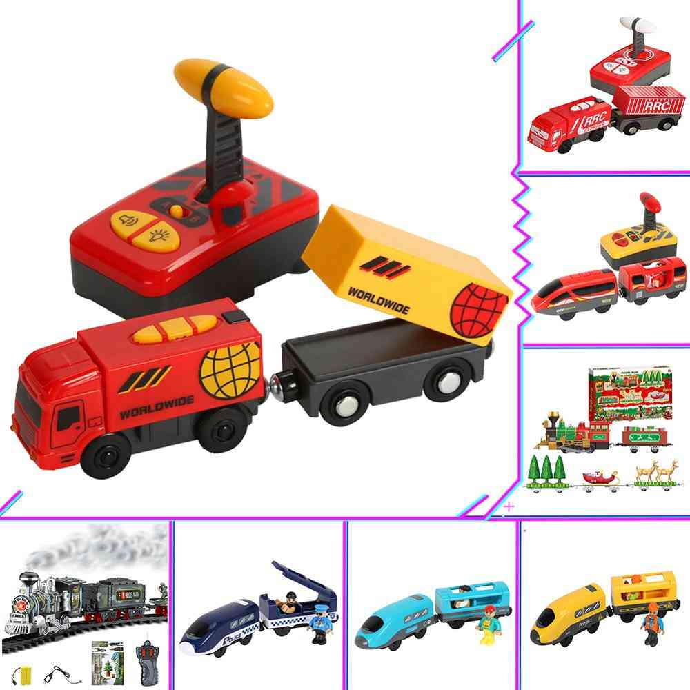 Electric Train, Magnetic Slot, Diecast Railway With Two-carriages Train Wooden, Brio Tracks