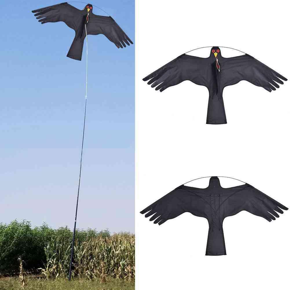New Bird Scarer Emulation Flying Hawk Drive Bird Kite For Garden Scarecrow Yard (black)