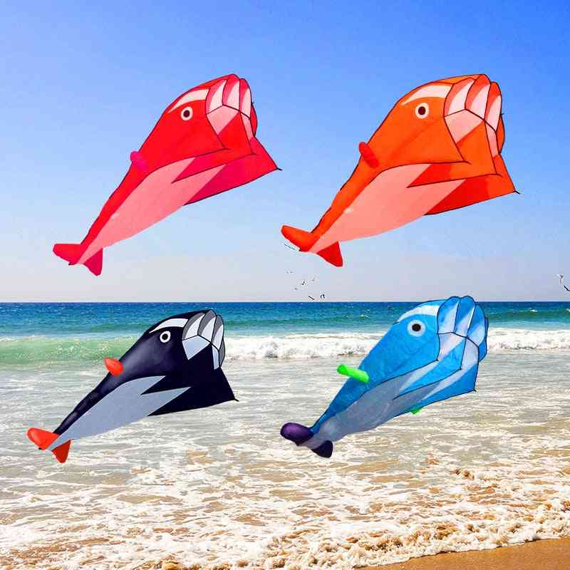 Outdoor Dolphin Soft Kite, Nylon Fabric, Line Animated Kites, Fishing Inflatable Toy, Fly Octopus
