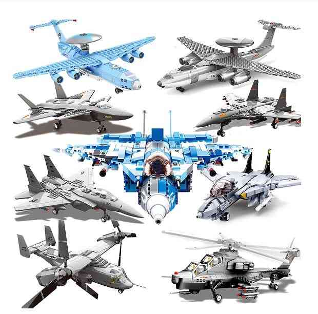 Military Building Block Airplane & Armed Helicopters Battle Fighter Model