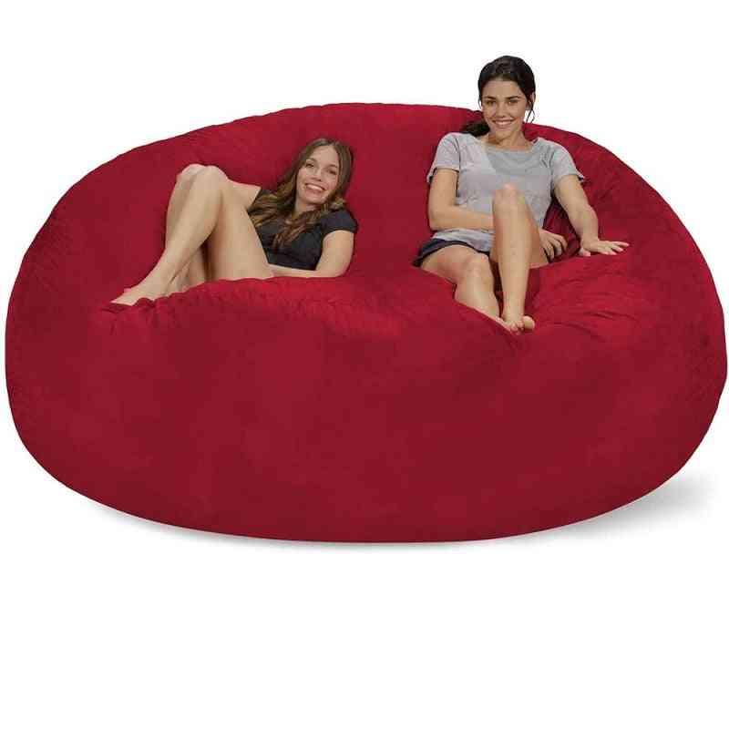 Giant Sude Soft Bean Bag Sofa Cover, Living Room, Furniture Giant Big Round Soft Fluffy Faux Cushion