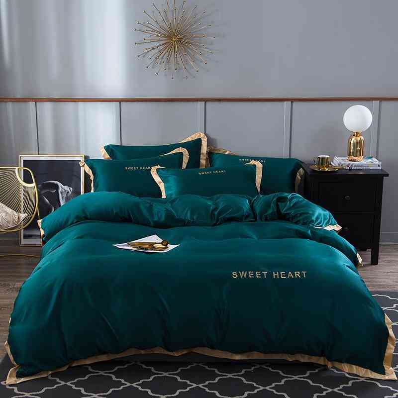 Satin Silky Bedding Set, Luxury Embroidery, Rim Duvet Cover Sheet, Queen, King Size
