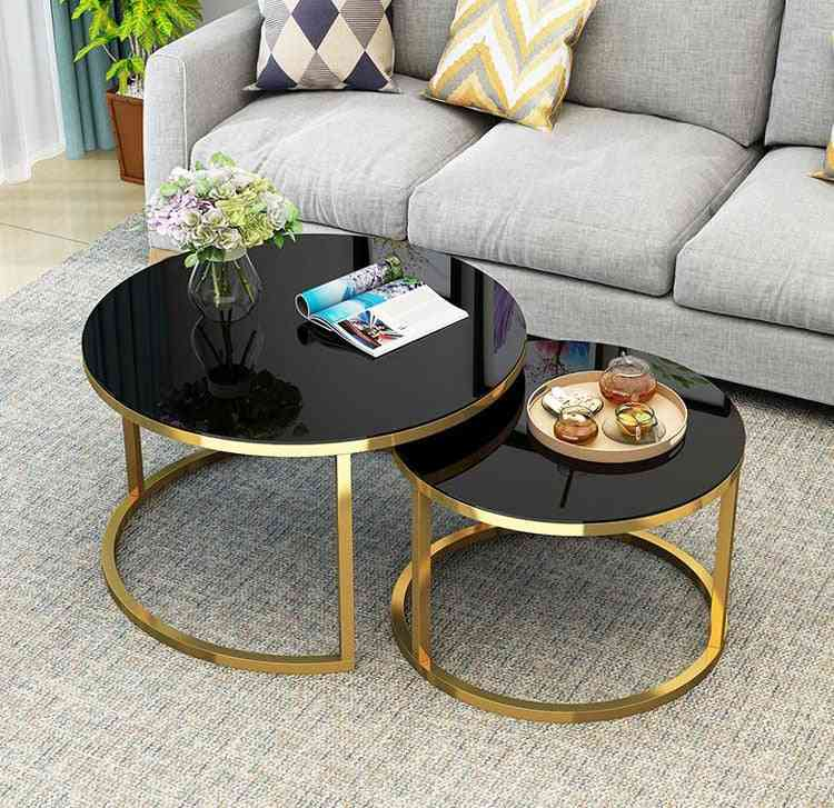 Tempered Glass Round Coffee Table For Living Room