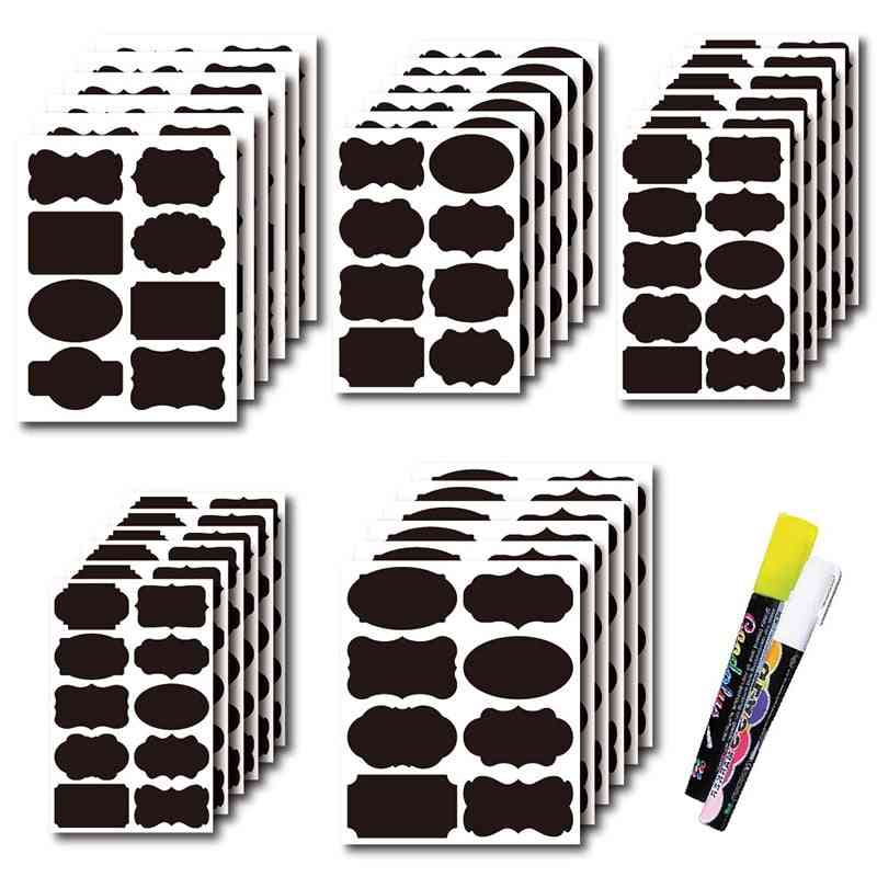Unibird Removable Blackboard Stickers For Kitchen Spice Jars With Marker