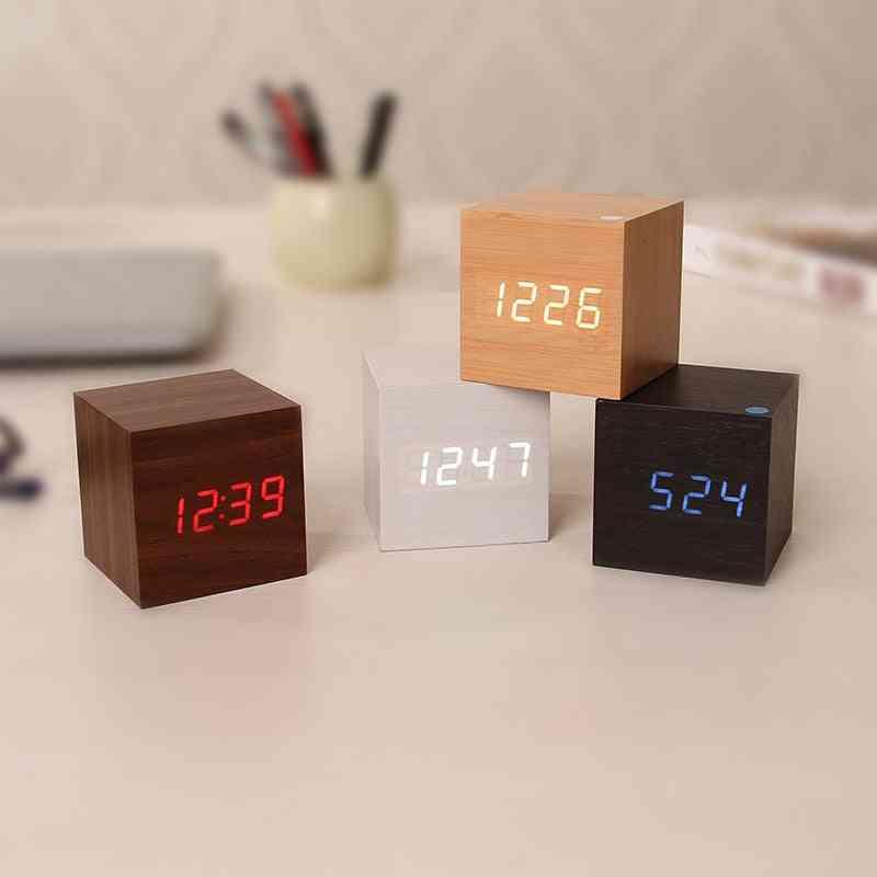 Wooden Led Alarm Clocks Temperature Electronic Clock Sounds Control Table Clock