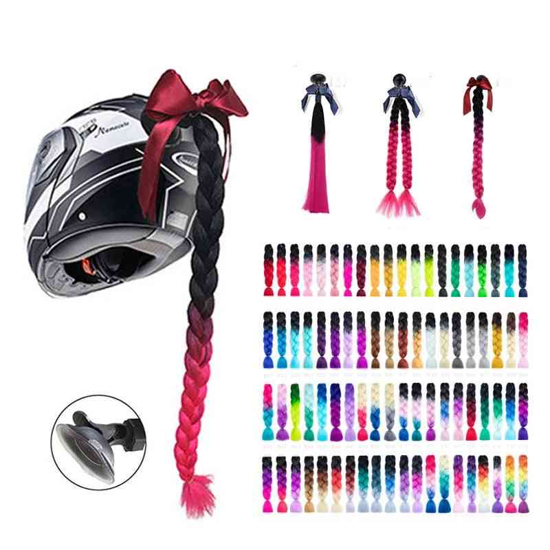 New Motorcycle Helmet Braids Woman Wig For Motorbike 17 Colors Twist Dual Pigtail Ponytail With Sucker Bow
