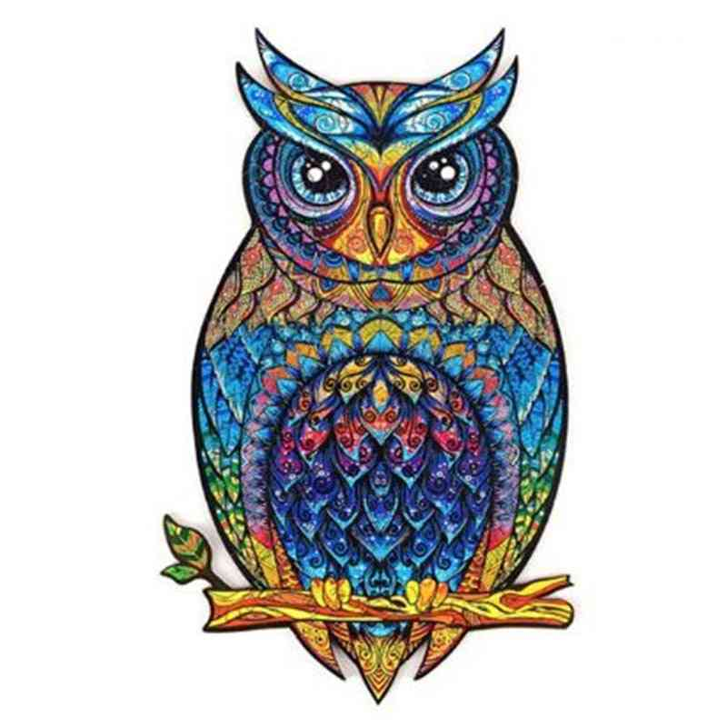 Owl Unique Wooden Animal Jigsaw Puzzles, Mysterious 3d, Adults, Kids, Educational Fabulous Interactive