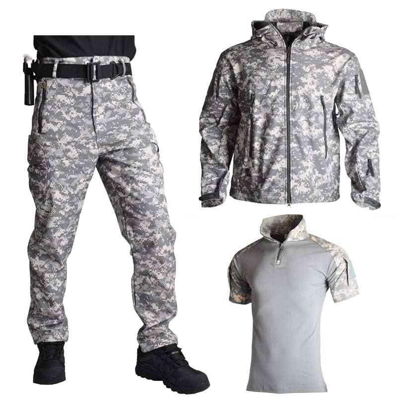 Shark Skin Soft Shell Jacket Pants Shirts Military Uniform Camouflage