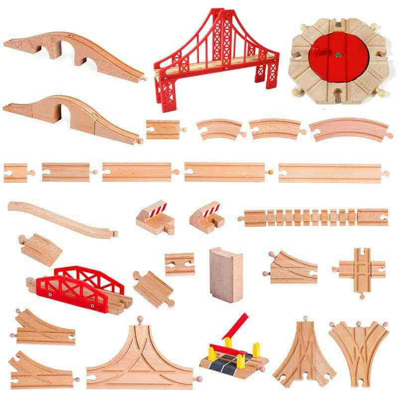 All Kinds Wooden Track Railway, Beech Train Accessories, Fit For Brand Tracks, Educational For