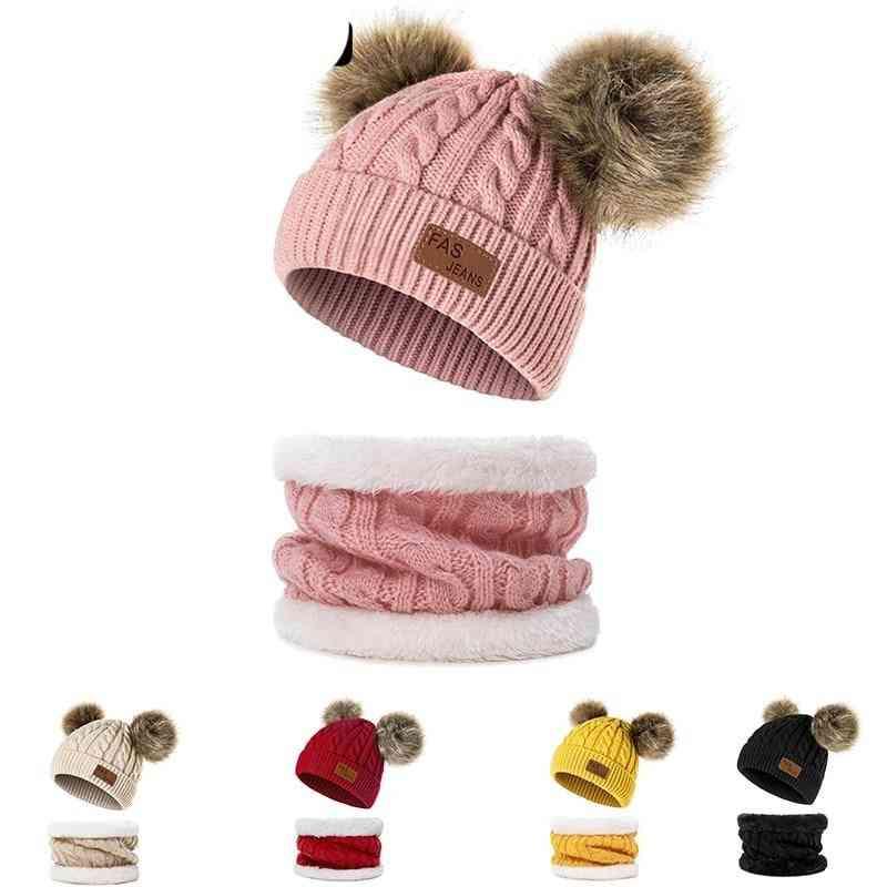 Children Knitted Beanies Thick Skullcap Hat Infant Toddler Ring Scarf