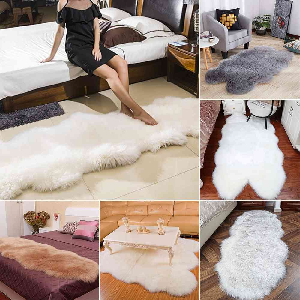 Warm Carpets Floor Mat Pad, Skin Fur Rugs Soft Faux Sheepskin Carpet Rugs