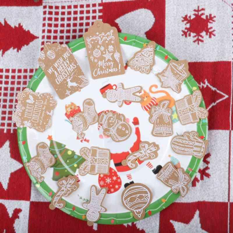 Christmas Santa Claus Snowflake Kraft Paper Tag With Rope