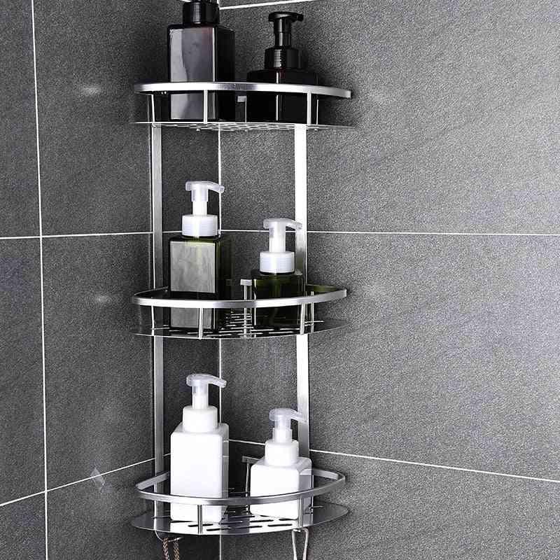 Space Aluminum Bathroom Shelf No Punching Shower Kitchen Storage Basket