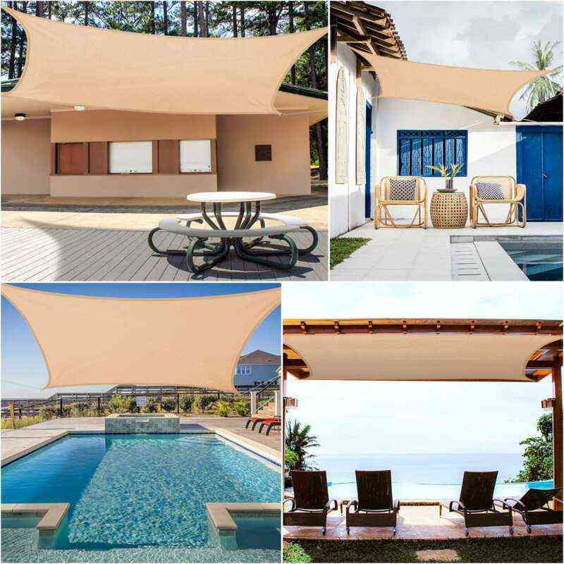 Sun-shelter, Waterproof Shade, Sail Outdoor, Rectangle Garden Terrace, Canopy Swimming Yard, Beach Car Awning