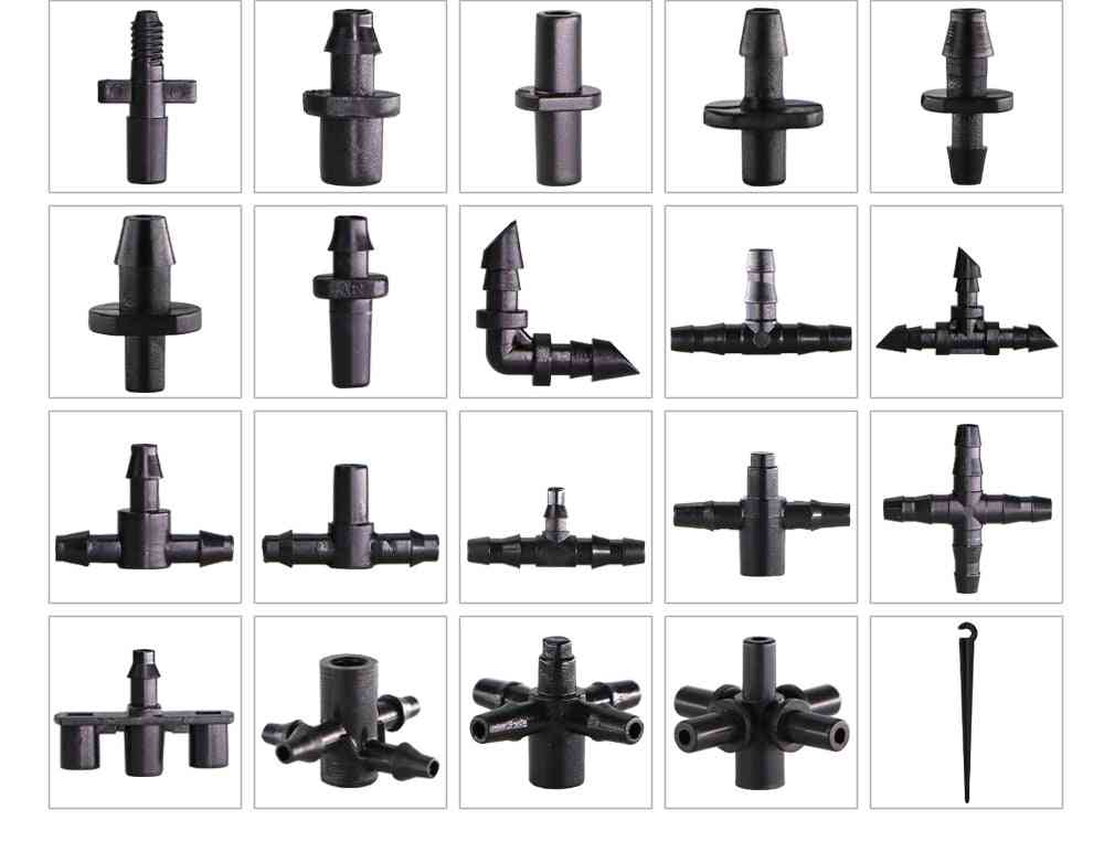 Garden Irrigation Connectors, Barbed Single, Double, Tee Elbow Drip Arrow, Cross Coupling, Watering Fitting Hose