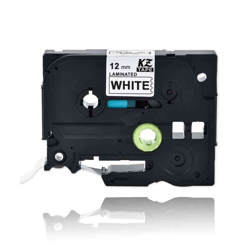 Laminated Black On White Label Tape Tz231