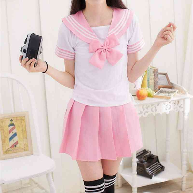 Japanese School Uniform For Sailor Tops+tie+skirt Navy Style Students Clothes