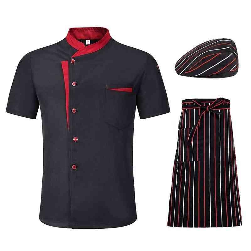 Men-women Short Sleeve Breathable Chef Jackets, Summer Kitchen Work Uniform
