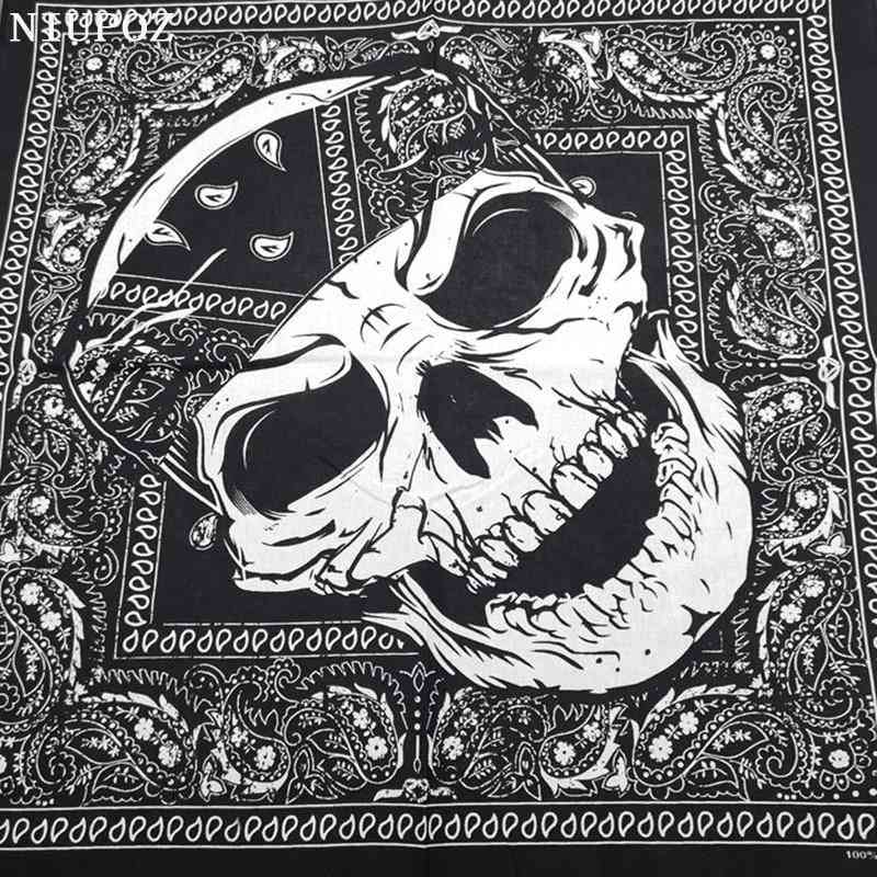Fashion Hip Hop Cotton Skull Bandana Square Scarf Black Paisley Bicycle Headband