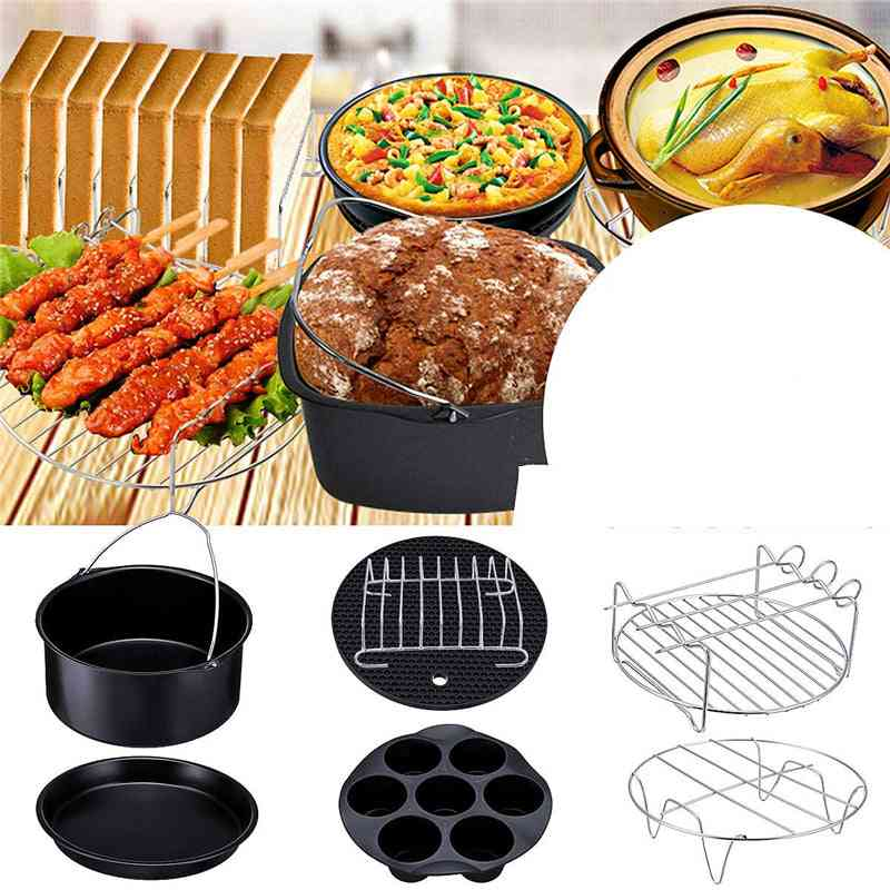 Air Fryer Accessories Set, Baking Basket, Pizza Plate, Grill Pot, Kitchen Cooking Tool, Deep Frying Parts