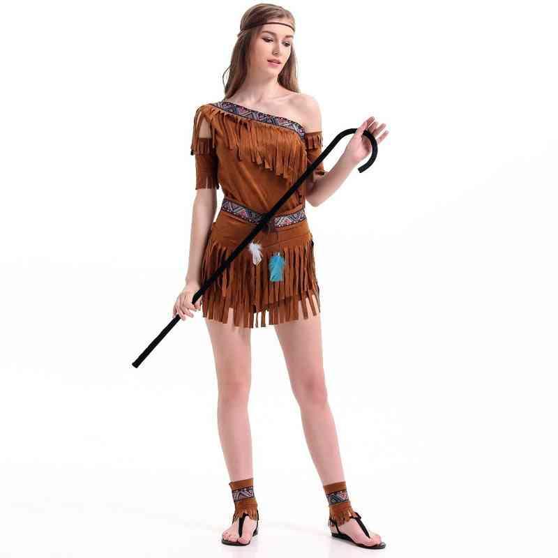 Women Indian Tribal Fringed Dress, Cosplay Costume, Party Lehenga, Choli, Native Princess Tassel