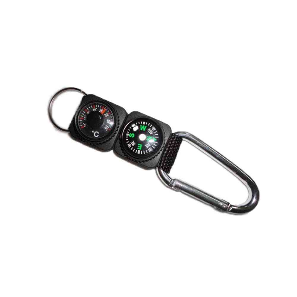 Multi-function Compass Thermometer, Metal Carabiner Key Chain, Camping Survival Tool, Climbing, Hiking, Outdoor Gadget