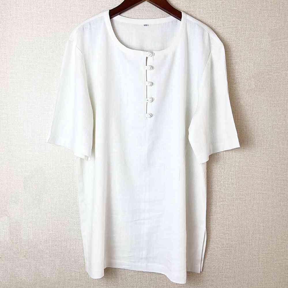 Chinese Style T-shirt, Casual Streetwear, Linen Cotton, Loose Blouse, Traditional Outfit