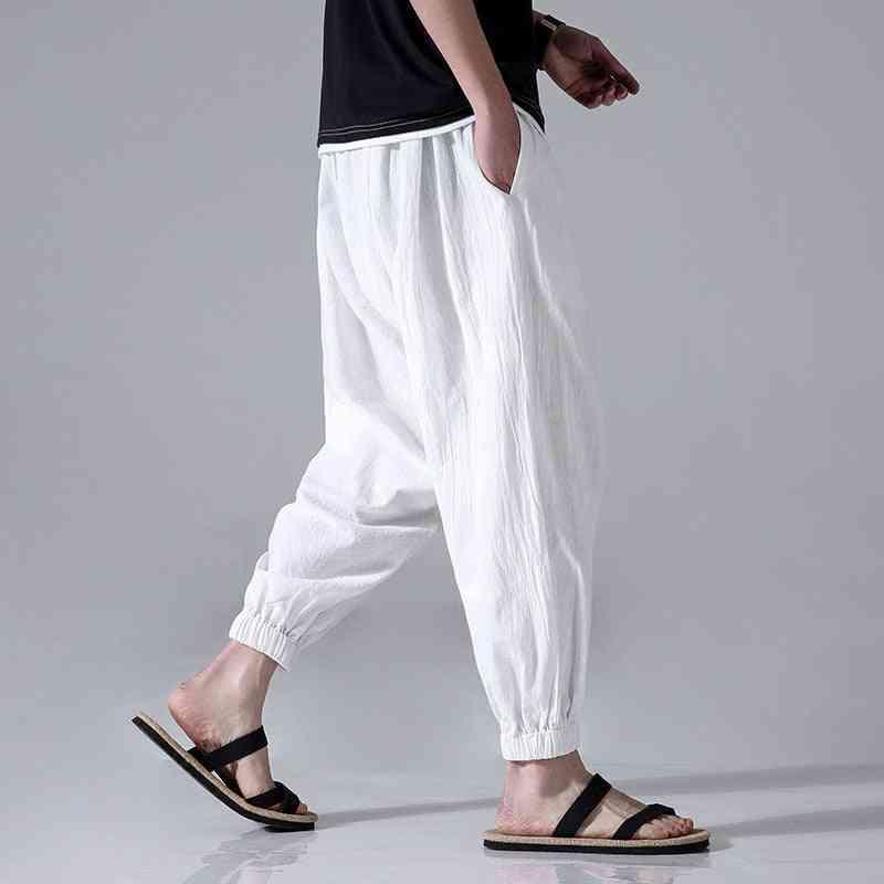 Loose Casual Men's Cotton Linen Capri-pants, Harem Beam, Feet Martial Arts Uniform Yoga Pant