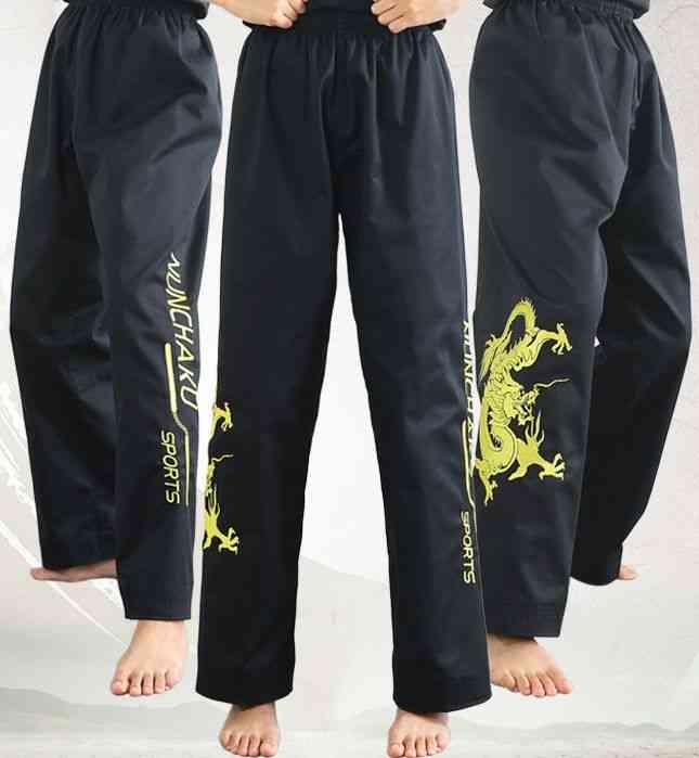 Embroidery Dragon Nunchakus Pants, Martial Arts Trousers