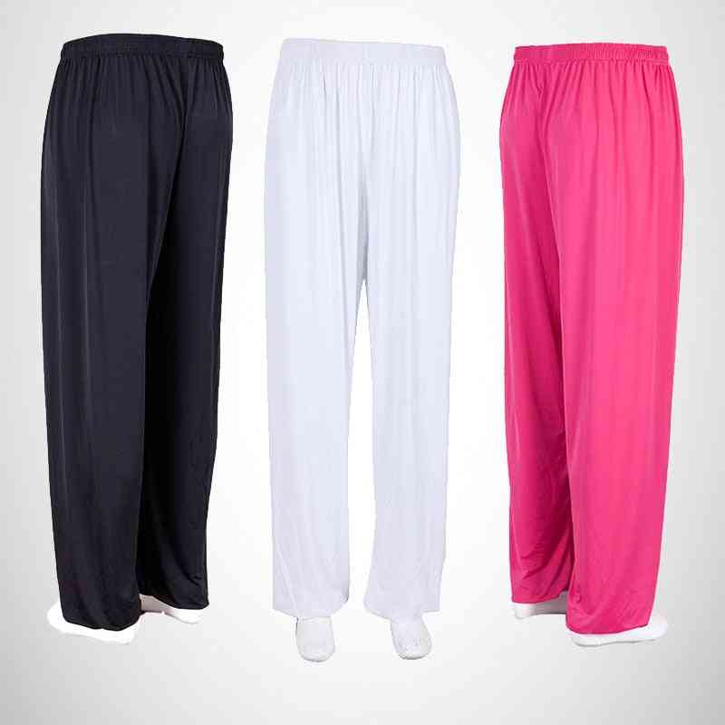 Kung Fu Pants, Ice Silk Dance Yoga Pant, Martial Arts Training Trousers For Woman, Men Gym